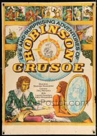 4y008 ROBINSON CRUSOE export Russian 32x45 '72 cool artwork of Robinson Crusoe in the wilderness!