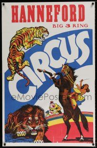 4z066 HANNEFORD CIRCUS vertical 27x42 circus poster '60s big 3-ring, art of many acts!