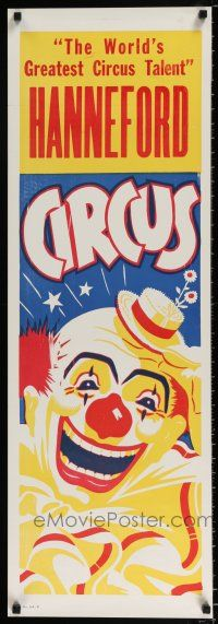 4z062 HANNEFORD CIRCUS 14x42 circus poster '60s greatest circus talent, art of laughing clown!