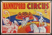 4z064 HANNEFORD CIRCUS horizontal 28x42 circus poster '60s big 3-ring, art of many acts!