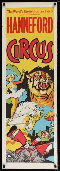 4z065 HANNEFORD CIRCUS vertical 14x42 circus poster '60s big 3-ring, art of many acts!