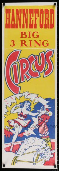 4z061 HANNEFORD CIRCUS 14x42 circus poster '60s artwork of woman on horse, big 3 ring!