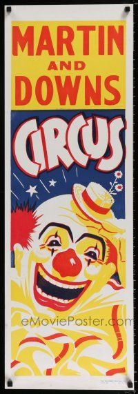 4z068 MARTIN & DOWNS CIRCUS 14x22 circus poster '70s under the big top, art of laughing clown!