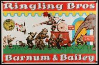 4z069 RINGLING BROS BARNUM & BAILEY 27x41 circus poster '60s cool art of monkeys going to circus!