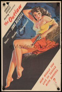 4z025 OUTLAW magazine ad '46 sexy art of Jane Russell by famous pin-up artist Zoe Mozert!