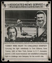 4z020 ASSOCIATED NEWS SERVICE newsstand poster '25 Tunney wins the right to fight Jack Dempsey!
