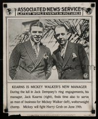4z018 ASSOCIATED NEWS SERVICE newsstand poster '25 Jack Kearns is Mickey Walker's new manager!