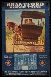 4z046 BRANTFORD CORDAGE COMPANY Canadian wall calendar '43 Binder Twine, cool art of horse buggy!