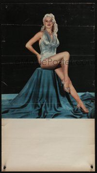 4z051 DIANA DORS Mexican calendar page '57 the sexy English blonde sitting in silver dress!