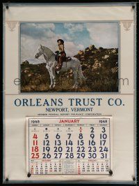 4z047 ORLEANS TRUST COMPANY calendar '48 wonderful image of Jeanette McDonald on horse!