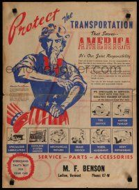 4z022 PROTECT THE TRANSPORTATION THAT SERVES AMERICA newspaper '40s cool art of Uncle Sam!