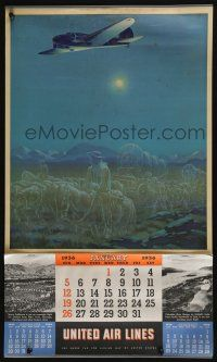 4z050 UNITED AIR LINES calendar '36 incredible ghostly art of plane flying over desert!