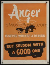 4z076 NATIONAL RESEARCH BUREAU 376 17x22 motivational poster '60s anger is never without a reason!