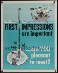4z079 NATIONAL RESEARCH BUREAU 669 17x22 motivational poster '60s first impressions are important!