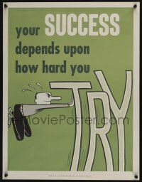 4z080 NATIONAL RESEARCH BUREAU 675 17x22 motivational poster '60s man trying hard for success art!