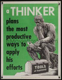 4z081 NATIONAL RESEARCH BUREAU 676 17x22 motivational poster '60s cool art of The Thinker w/wrench!