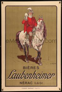 4z014 BIERES LAUBENHEIMER 31x47 French advertising poster '15 Ripart art of King Henry IV w/beer!