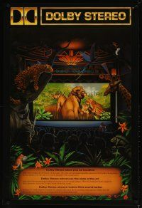 4z005 DOLBY DIGITAL DS 27x40 advertising poster '90 artwork of jungle animals in theater by Erickson