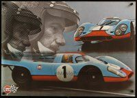 4z015 GULF PORSCHE 917 2-sided 24x33 Swiss advertising poster '70s schematic of Le Mans racer!