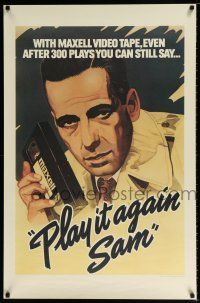 4z008 MAXELL: PLAY IT AGAIN SAM 26x40 advertising poster '83 cool artwork of Humphrey Bogart w/VHS