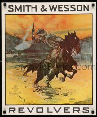 4z010 SMITH & WESSON REVOLVERS 18x22 advertising poster '64 cowboy on horse firing gun by Smith!