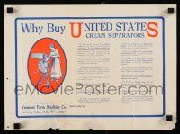 4z012 UNITED STATES CREAM SEPARATOR 11x15 advertising poster '20s homemade butter!