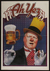 4z013 W.C. FIELDS 29x29 advertising poster '80s smoking a cigar, with a stein of Natural Light beer!