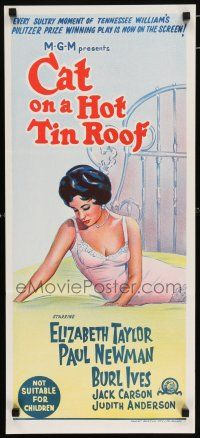 5b022 CAT ON A HOT TIN ROOF Aust daybill R66 art of Elizabeth Taylor in nightie on bed!