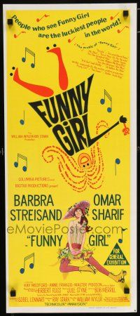 5b024 FUNNY GIRL Aust daybill '69 hand litho of Barbra Streisand, directed by William Wyler!