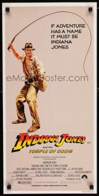 5b025 INDIANA JONES & THE TEMPLE OF DOOM Aust daybill '84 adventure is Harrison Ford's name!