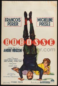 5b068 BOBOSSE Belgian '59 cool art of Francois Perier standing on head with sexy Michele Presle!