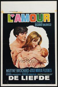 5b080 L'AMOUR Belgian '70 Richard Balducci, art of naked coupe with baby!