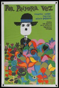 5b051 FOR THE FIRST TIME Cuban R90s cool Munoz Bachs art of Charlie Chaplin in flower field!