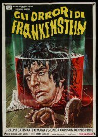 5b036 HORROR OF FRANKENSTEIN Italian 1sh '72 Hammer, different art of man's head in jar and rats!