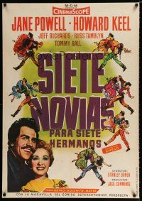 5b028 SEVEN BRIDES FOR SEVEN BROTHERS Spanish '54 art of Jane Powell & Howard Keel, MGM classic!