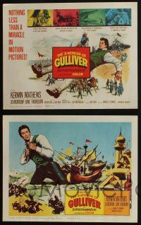 5g027 3 WORLDS OF GULLIVER 8 LCs '60 Ray Harryhausen fantasy classic, giant Kerwin Mathews!