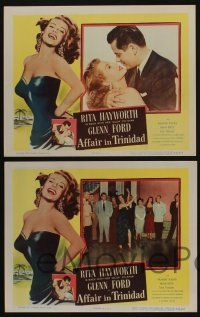 5g036 AFFAIR IN TRINIDAD 8 LCs '52 sexy Rita Hayworth dancing, hugging & slapped by Glenn Ford!