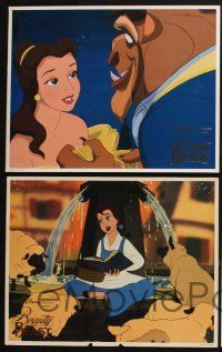 5g074 BEAUTY & THE BEAST 8 LCs '91 Walt Disney cartoon classic, cool images w/ foil title!