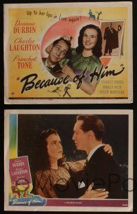 5g075 BECAUSE OF HIM 8 LCs '45 Deanna Durbin, Franchot Tone & Charles Laughton!