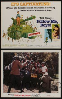 5g020 FOLLOW ME BOYS 9 LCs R76 Fred MacMurray leads Boy Scouts, young Kurt Russell, Walt Disney!