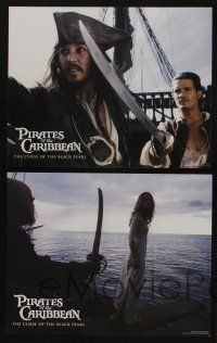 5g003 PIRATES OF THE CARIBBEAN 14 LCs '03 Johnny Depp as Jack Sparrow, Keira Knightley, Bloom!