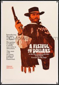 5m054 FISTFUL OF DOLLARS linen teaser 1sh '67 introducing the man with no name, Clint Eastwood!
