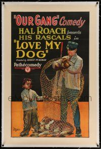 5m096 LOVE MY DOG linen 1sh '27 stone litho art of Farina pleading w/dogcatcher for his dog's life!