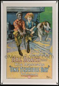 5m116 ONE TERRIBLE DAY linen 1sh '22 the first Our Gang released, stone litho of kids & dog on car!