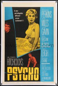 5m123 PSYCHO linen 1sh '60 sexy half-dressed Janet Leigh, Anthony Perkins, Alfred Hitchcock classic