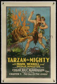 5m165 TARZAN THE MIGHTY linen ch3 1sh '28 art of Merrill saving girl from lion, Call of the Jungle!