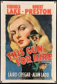 5m001 THIS GUN FOR HIRE linen 1sh '42 classic image of Alan Ladd with gun & sexy Veronica Lake!
