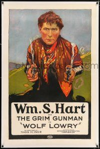 5m202 WOLF LOWRY linen 1sh R20s wonderful art of Grim Gunman William S. Hart with two smoking guns!