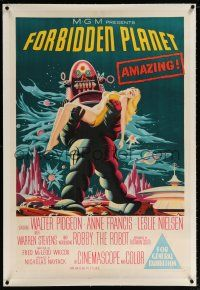 5p013 FORBIDDEN PLANET linen Aust 1sh '56 classic art of Robby the Robot carrying sexy Anne Francis!