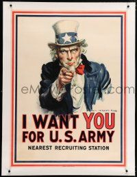 5p180 I WANT YOU FOR U.S. ARMY linen 30x40 WWI war poster '17 Uncle Sam by James Montgomery Flagg!